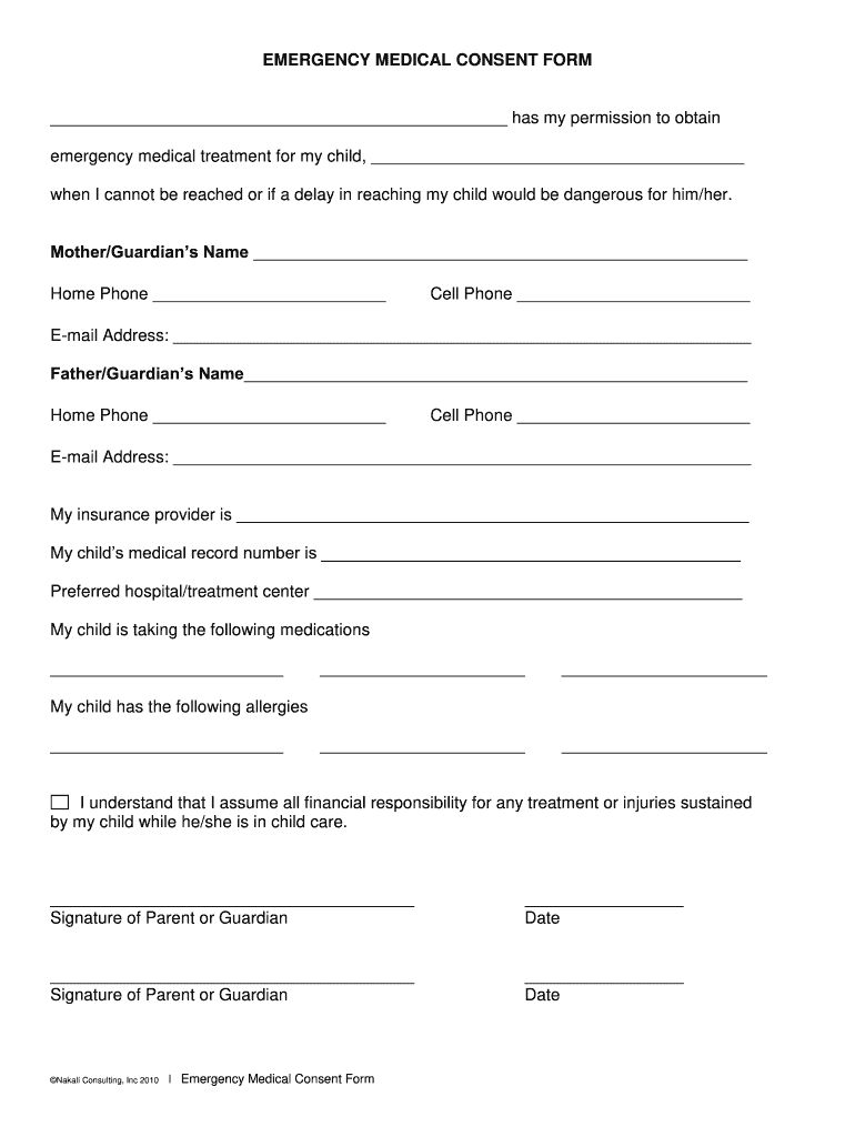 image relating to Printable Medical Consent Form for Minor known as Professional medical Consent Kind - Fill On the net, Printable, Fillable