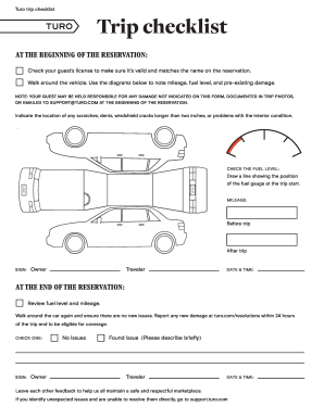 100980097 turo checklist fill online, printable, fillable, blank pdffiller