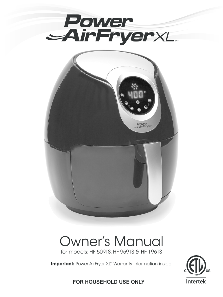 Power Air Fryer Xl Manual Fill Online