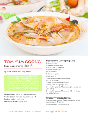 Fillable online tom yum goong recipe pdf eating thai food fax fill online forumfinder Image collections