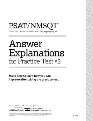 Fillable Online PSAT/NMSQT Practice Test #2 Answer Explanations SAT