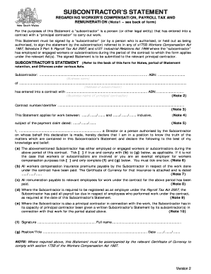 subcontractor statement form