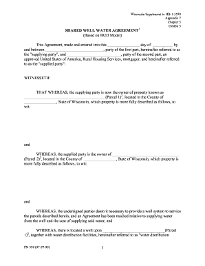 Shared Well Agreement Fill Online Printable Fillable