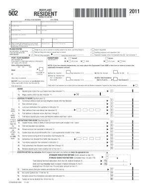 Maryland Tax Form 502 Form 502 Fillable Maryland Resident Income ...
