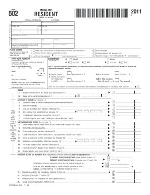 2011 Form MD Comptroller 502 Fill Online, Printable
