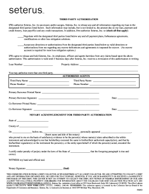 Seterus Third Party Authorization Form Fill Online Printable