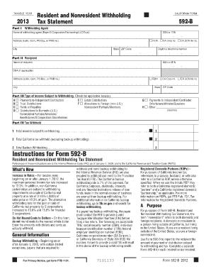 Form 592 B 2013 - Fill Online, Printable, Fillable, Blank | PDFfiller