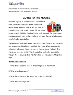 Going To The Movies Reading Comprehension - Fill Online ...