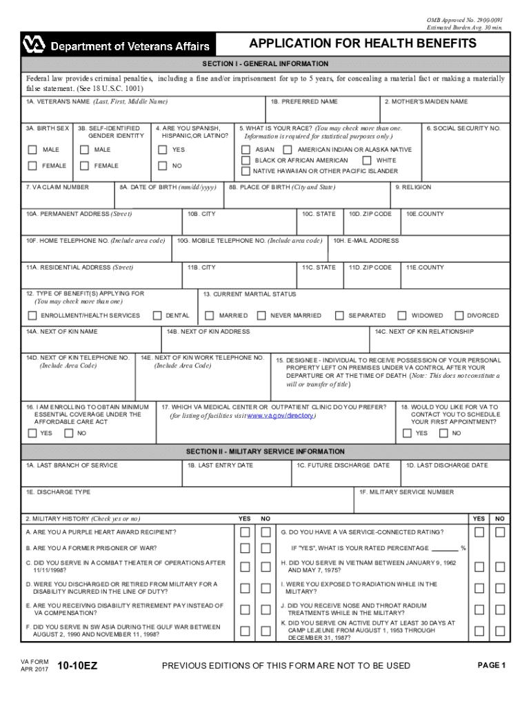 Va Form 10-10ez Ebook Download
