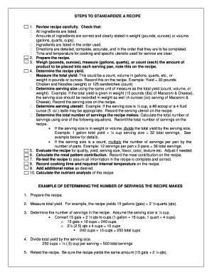 standard recipe format template