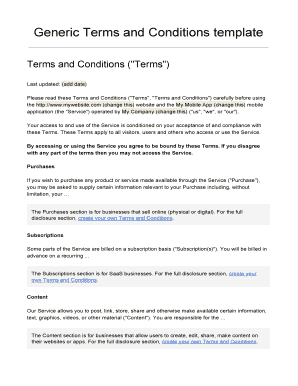 Generic Terms And Conditions Template | Fillable Online Generic Terms And Conditions Template Fax Email