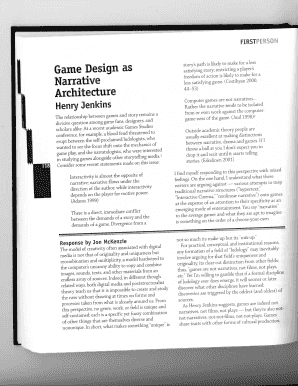 jenkins narrative architecture Game design as narrative architecture henry jenkins the relationship between games and story remains a divisive question among game fans, designers, and.