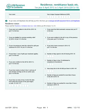 Multiple Dwellings Relief >> Sa109 Form 2016 - Fill Online, Printable, Fillable, Blank | PDFfiller