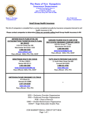 Fillable Online Nh Small Group Health Insurance Nh Gov Nh Fax