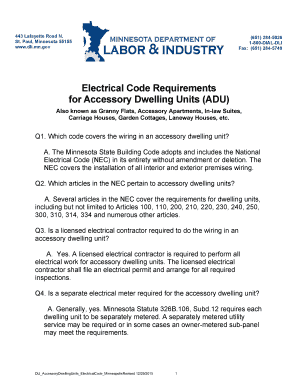 Fillable Online dli mn Electrical Code Requirements for Accessory ...