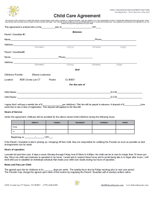 child care contracts home daycare - Edit, Fill Out, Print