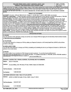 Fillable Online tricare DD Form 2876, TRICARE Prime Enrollment ...