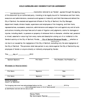 17 Printable Hold Harmless And Indemnity Agreement Pdf Forms