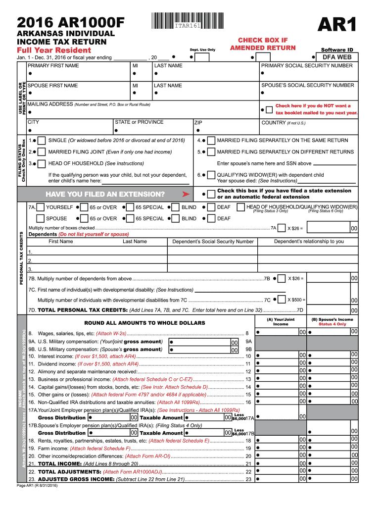 2016-2019 Form AR DFA AR1000F Fill Online, Printable