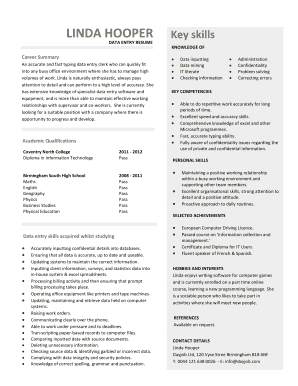 data entry resume template example. Resume example written for a data entry job from the view point of a young person who has little or no work experience.