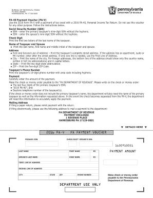 Fillable Online 2016 PA-V PA Payment Voucher (PA-40 PA-V). Forms ...