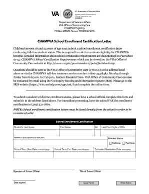 Fillable Online Va Champva School Enrollment Certification Letter