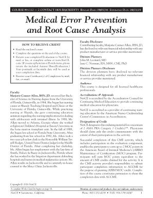 net ce medical error prevention and root cause analysis test