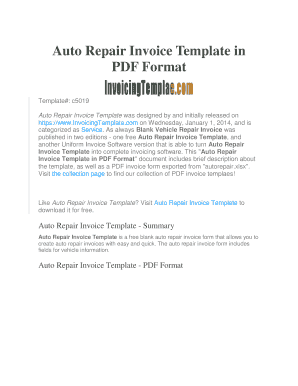 Fillable Online Auto Repair Invoice Template In Pdf Format