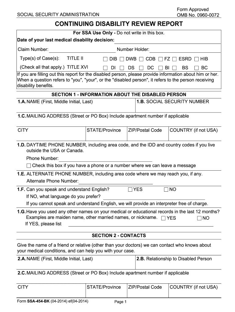 2014-2019 Form SSA-454-BK Fill Online, Printable, Fillable