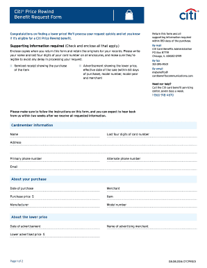 Fillable Online Citi Price Rewind Benefit Request Form Fax Email ...