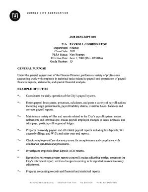 High Quality JOB DESCRIPTION Title: PAYROLL COORDINATOR Department   Murray Utah