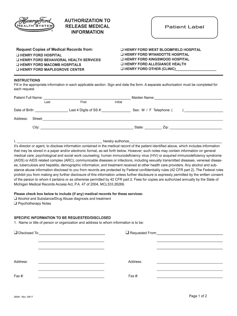 2017-2019 Form Henry Ford 26091 Fill Online, Printable