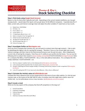 Fillable Online Preston and Stigs stock selecting checklist