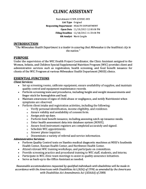 Clinic Assistant (Health Department) - city milwaukee