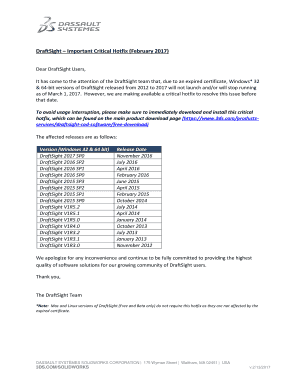 Fillable Online Dear DraftSight Users, Fax Email Print - PDFfiller