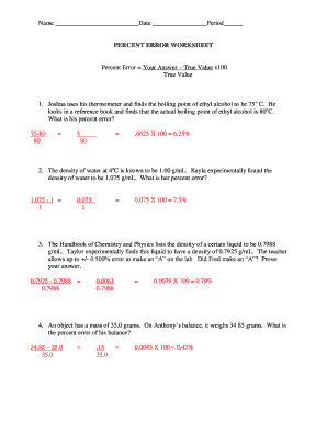 Fillable Online PERCENT ERROR WORKSHEET Fax Email Print  PDFfiller