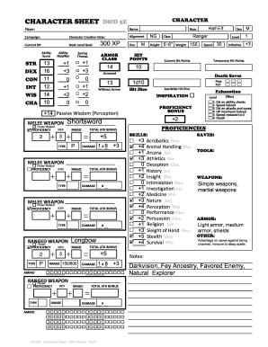 Fillable Online CHARACTER SHEET D&D 5E Fax Email Print - PDFfiller