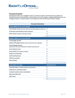 financial checklist before death fill out online download