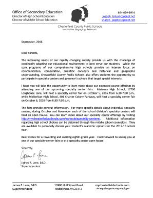 Superintendents Invitation - Chesterfield County Public Schools
