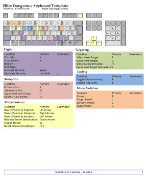 Fillable Online Elite: Dangerous Keyboard Template Fax Email