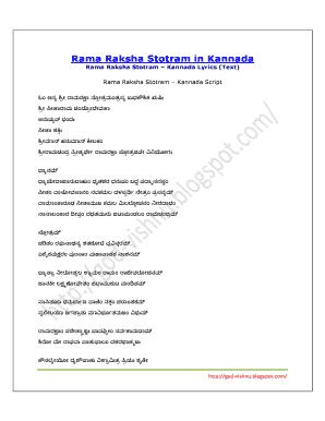 Ramaraksha Stotra In Pdf Kannada Fill Online Printable