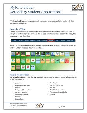 katyisd cloud Fillable Online katyisd MyKaty Cloud: Secondary Student Applications ...