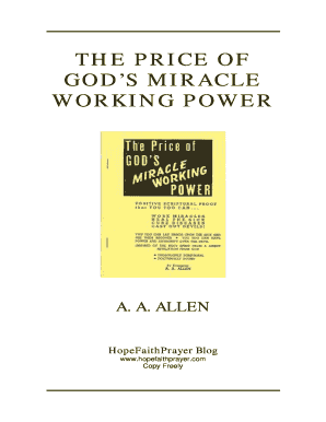 Fillable Online The Price Of God S Miracle Working Power Aa Allen