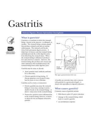 Gastritis. Describes the various causes of gastritis and tests used to diagnose it.