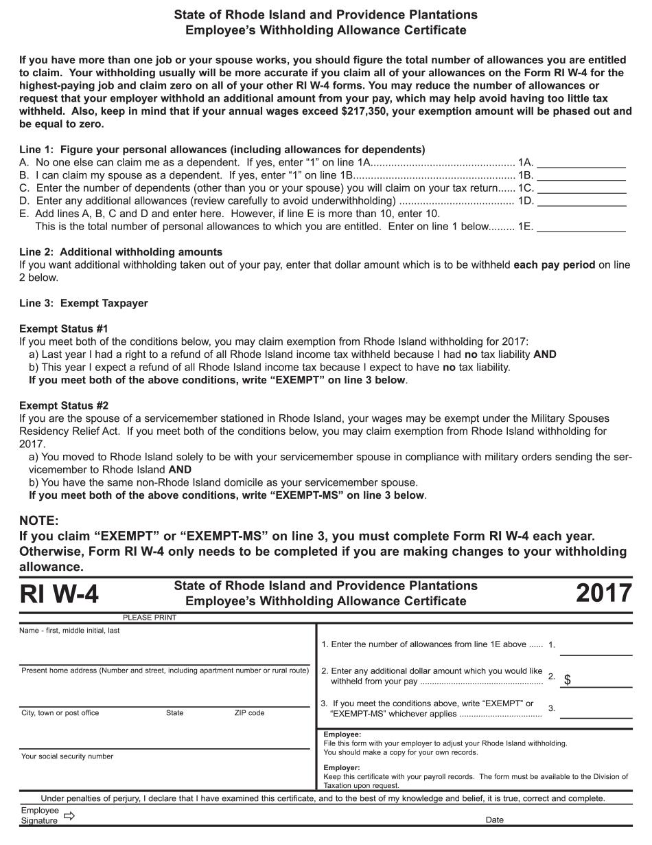 Form RI W-4 2017-2021