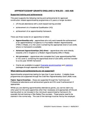 APPRENTICESHIP GRANTS ENGLAND & WALES A02-A06