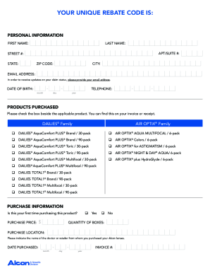 Fillable Online Alcon Choice Rebate Form Fax Email Print - PDFfiller