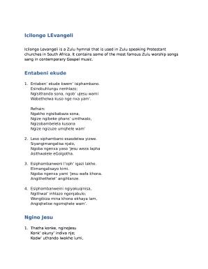 Icilongo Levangeli Zulu Songs Pdf - Fill Online, Printable
