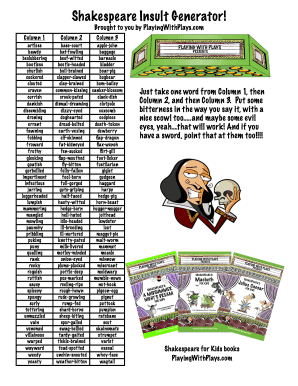 Fillable Online shakespeare insult generator xlsx Fax Email