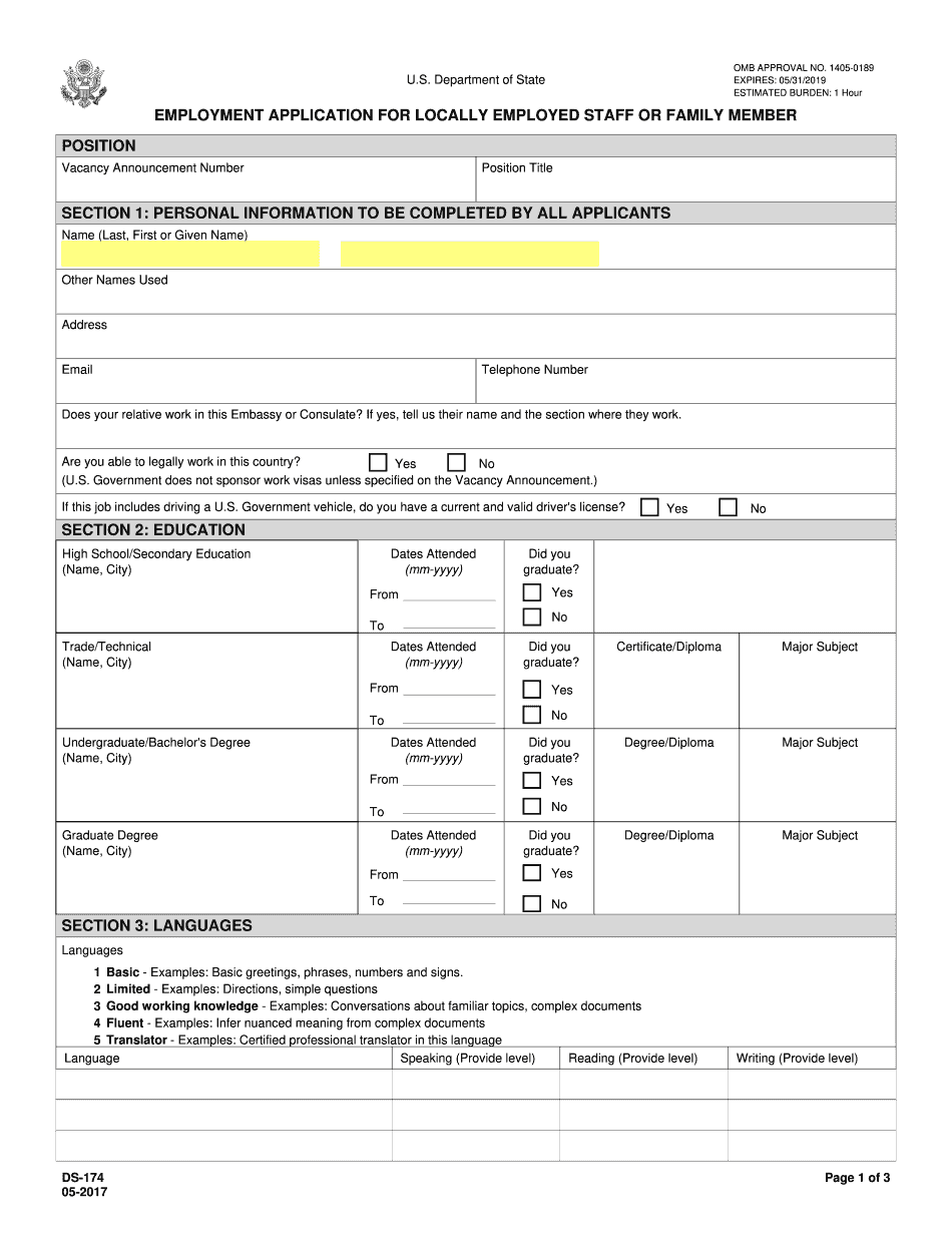 ds 174 application form 2021 word format